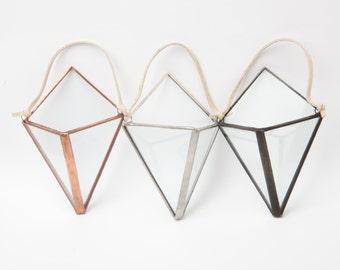 Mini Diamond Hanger Terrarium // Clear Glass // Planter for Indoors