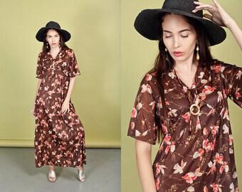 70s Brown Floral Maxi Dress Vintage Boho Bohemian Long Dress