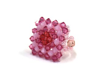 Elastic one size pearls and Swarovski Crystal ring - pink