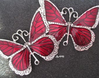 Large silver red enameled Butterfly connector pendant