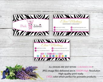 Pink zebra consultant etsy pink zebra business cards pink zebra buy 10 get 1 free printable digital printed reheart Gallery
