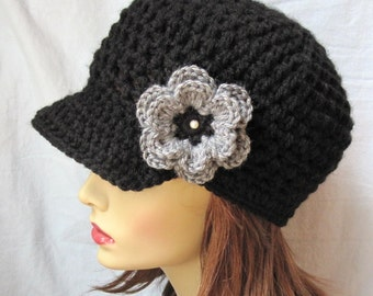 Crochet Womens Hat, Teens Newsboy, Black, Gray Flower, Christmas, Holiday gifts under 40, Birthday Gifts, JE148NML