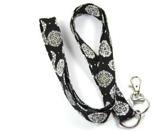 BLACK AND GRAY Fabric lanyard, Fabric Badge Holder, Black and gray Lanyard