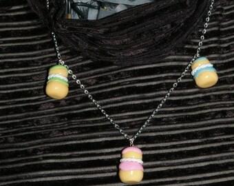 Necklace religious multicolored glaze Fimo