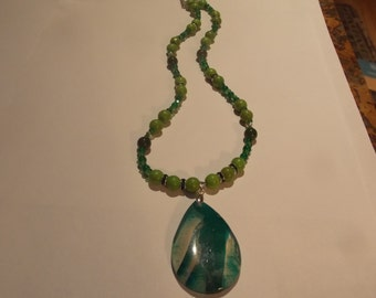 Hand made one of a kind Necklace w/ Green Turquoise