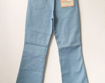 vintage wrangler boy's slim baby blue boot flare western jeans size 16 slim deadstock NWT 70s made in USA