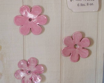 Personalized Baby Gift, Baby, Girl, Flower, Bead Board, Porcelain Blossom, Modern Floral, Wall hanging, Baby, Nursery, Baby Decor