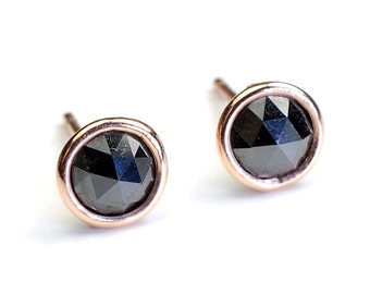 Rose Cut Black Diamond and Gold Stud Earrings, Diamonds By the Yard Bezel, Diamond Studs, 1.37ct, Rose Gold, Nixin