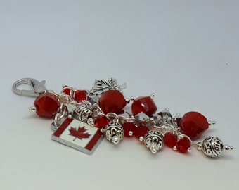 Canada Purse Charm Large with Canadian Flag, Maple Leaf, Red and Silver Beads and Large Lobster Clasp