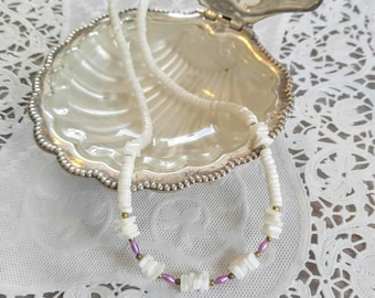 SALE! PRETTY Purple, Gold and Off White Vintage Shell Necklace-Puka, Pukka, Beaded, Nautical, Choker, Pastel-All Orders Only 99c Shipping!!