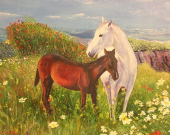 """Oil painting horse Original oil painting  Picture of a """"Horses"""" Mom and baby  Horses grazing in a meadow  Relax wall decor  White horse"""