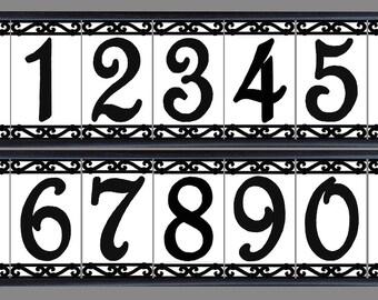 framed set decorative tile house number decorative address. Black Bedroom Furniture Sets. Home Design Ideas