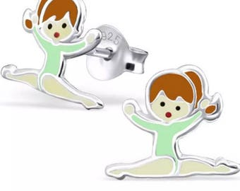 Childrens Small Gymnastics Sterling Silver Stud Earrings