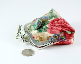 Cottage garden floral coin purse...3D button effect...coordinating raspberry colored lining...shabby chic rose design...last one!