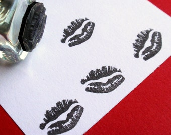 Little Kiss Lips Rubber Stamp / Valentines / Weddings - Handmade by BlossomStamps