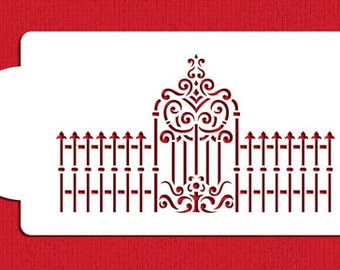Victorian Gate and Fence Cake Side Stencil for Cakes, Cookies & Cupcakes - Designer Stencils (C938)