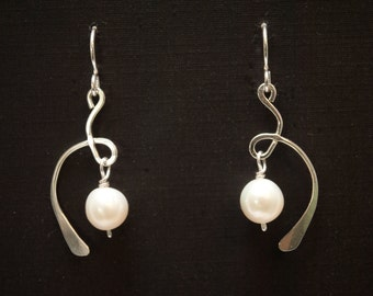 Sterling Silver White Freshwater Pearl Swirl Earrings