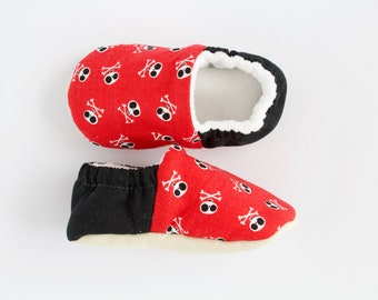 Red and black skull and crossbone halloween pre walker and toddler shoes