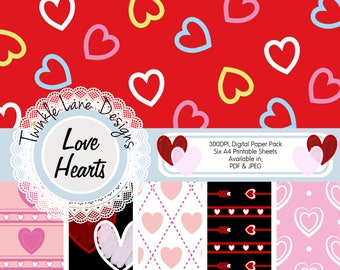 Love Heart, Digital Papers, Valentines, Anniversary, Six A4 Pages, Romantic, Love, Digital Prints, Digital Paper Pack, Papercraft, Printable