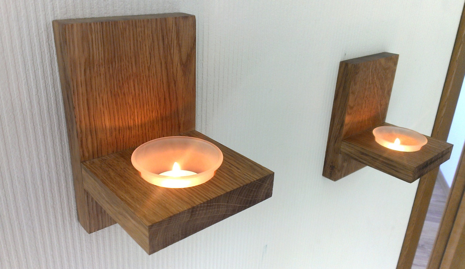 🔎zoom. modern wall mount tea light candle holder oak candle holder