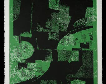 """Don Werner Serigraph """"Verdant"""" Abstraction Limited Edition Screen Print Abstract Silkscreen"""