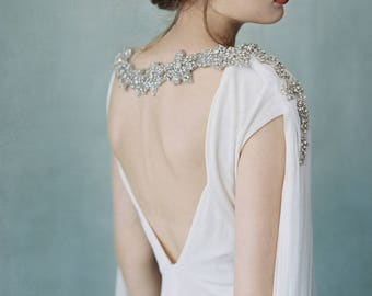 Midnight - Couture Crystal Cascading Silk Cape
