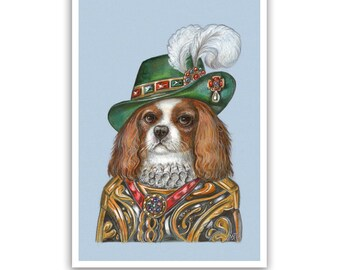 Cavalier King Charles Spaniel Art Print - the Lord - Dog Wall Art - Pet Portraits by Maria Pishvanova