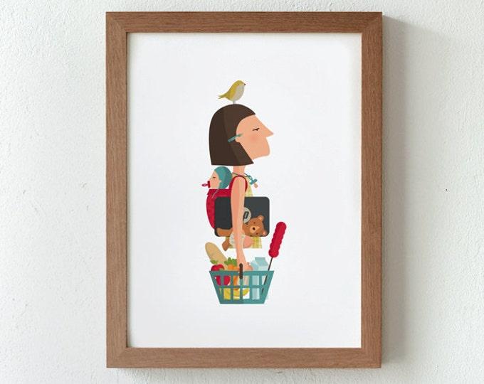 """Ilustración """"Mujer trabajadora""""."""