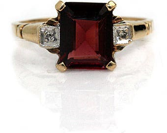Antique Garnet Engagement Ring 2.03ctw 1940s Square Cut Garnet Ring Gemstone Engagement Alternative Engagement Ring January Birthstone!