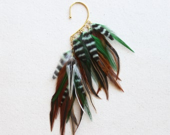 Bali Green & Natural Feather Under Ear Wrap in Gold