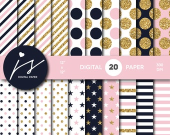 Baby pink and Navy blue gold glitter digital paper, Patterns, Backgrounds, Navy blue and Baby pink glitter gold digital scrapbooking, MI-776