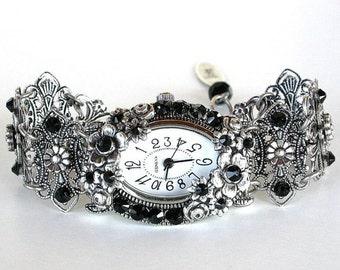 Swarovski Watch Black Crystal Bracelet Watch Unique Women Watches Silver Watch Victorian Gothic Watch Ladies Beaded Watch Gift for Women