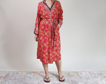 SALE 30% OFF Paloma Picasso luxury style reversible cotton duster robe / size M-L-XL