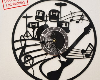 Vinyl Record clock Band theme **FREE SHIPPING**