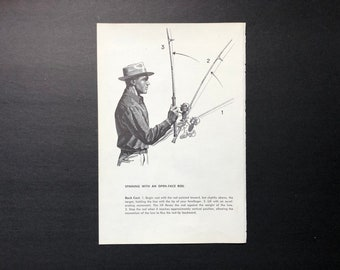 c. 1963 - FISHING PRINT - original vintage print - casting print - fresh water fishing - angling print - spinning with an open face reel