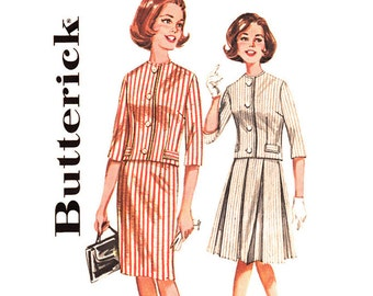 60s Boxy Jacket, Skirt Pattern Butterick 2258 Collarless Jacket, Slim or Box Pleated Skirt Womens Suit Size 10 or 16 Sewing Pattern