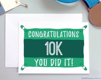 Congratulations 10k run card, running card