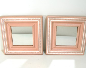 Vintage Decorative Peach Wood Mirrors, Set of Two