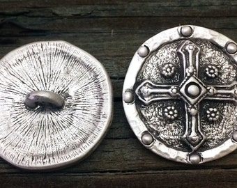 Shield Cross Pewter Shank Buttons 1 5/16 Inch (33 mm)