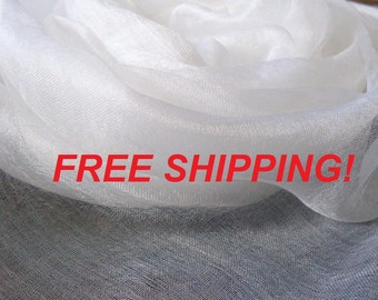 FREE SHIPPING! 48 meters Pure 100% Silk margilan (made in Uzbekistan) for nunofelting, gauze silk, Uzbek silk, width 88 -90 cm.