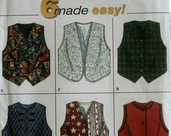 Girl's Vest Sewing Pattern - Child's Vest Sewing Pattern - Simplicity 7357 - New - Uncut - Size 7 - 8 - 10 - 12