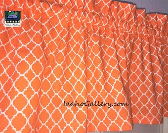 "Kitchen Curtain Orange and White Curtain LAST ONE Geometric Lattice Trellis Bedroom Curtain 11"" x 42"" wide Valance Modern Decor"