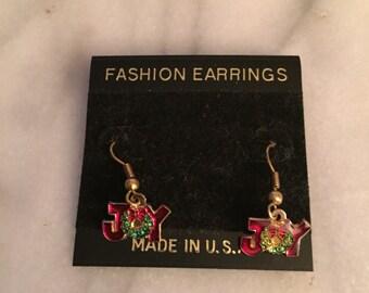 Vintage Christmas Joy wire earrings