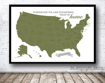 Personalized USA Travel Map (Print Only), Push Pin Map, Map Poster, Wedding - Anniversary Gift - #USA-007