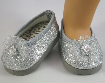 Cinderella Elsa Frozen Ballerina princess flats SHOES SILVER sparkle for American Girl or 18 inch Doll