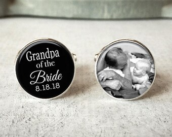 Grandpa Of The Bride Cufflinks, Personalized Cufflinks, Wedding Cuff links, Custom Cufflinks, Photo Cufflinks, Wedding Keepsake