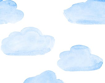 Watercolour Clouds Fabric - Cotton, Swim, Bamboo, Knit, Terry, Fleece, Satin