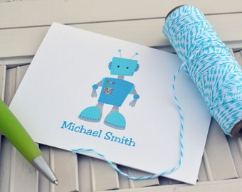 Blue Robot Personalized Stationery / Personalized Stationary / Personalized Note Cards / Stationery Set - Boys Robot Design