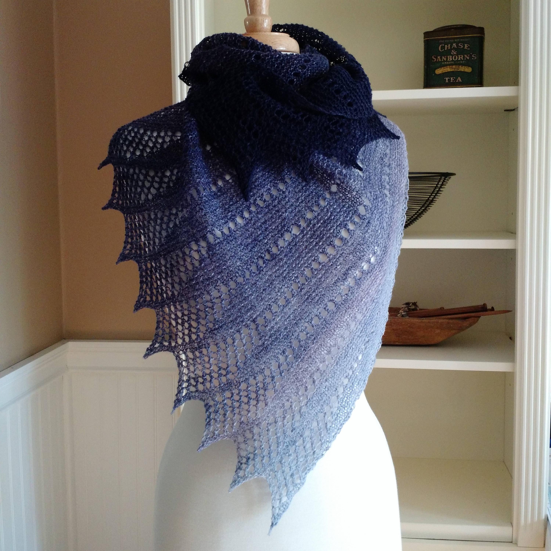 Lace Shawl Knitting Pattern PDF Mistral Shawl asymmetric