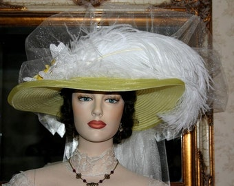 Victorian Hat, Kentucky Derby Hat, Ascot Hat, Titanic Hat, Somewhere Time Hat, Downton Abbey Hat - Lemon Meringue Crystal Fairy